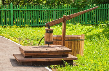 Old wooden well for water production
