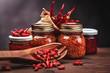 sauce chilli in glass - 79897792