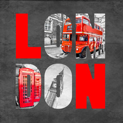 London letters with images on black background