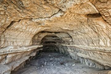 Limestone cave inside