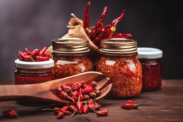 sauce chilli in glass