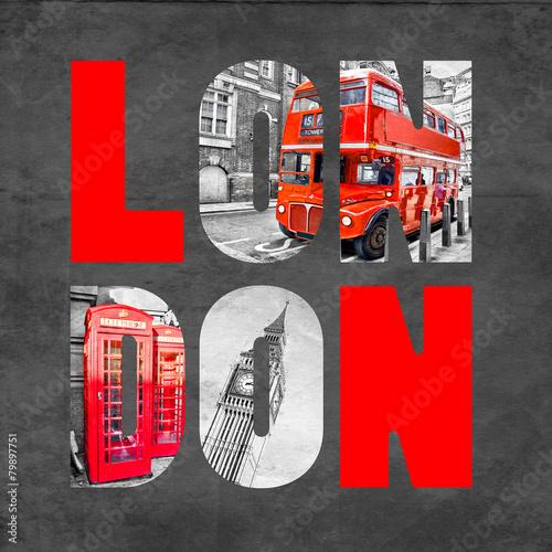 Zdjęcia na płótnie, fototapety, obrazy : London letters with images on  black background