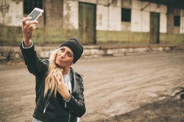 Beautiful blonde selfie