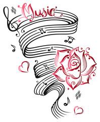 Musik, Notenblatt, Rosen, Noten