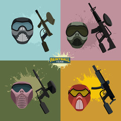 set paintball helmet and guns