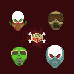 Set  paintball mask. skull in protective mask. Mortal paintball.
