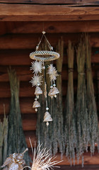 Wicker of flax traditional suspension handmade