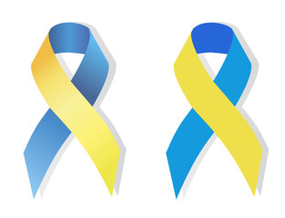 Blue and yellow ribbon symbol of people with Down syndrome