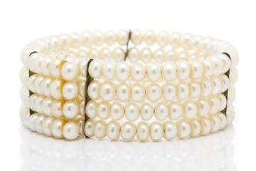 Old Pearl Bracelet in White background