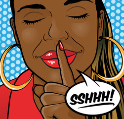Pop Art African American Girl Sshhh Lips.