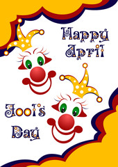 Postcard on April 1 - April Fool's day. Two faces of jesters