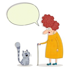 Cartoon characters. Old woman and cat conversing