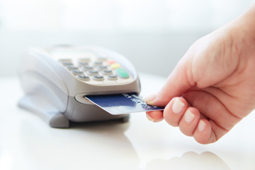 Woman pay by credit
