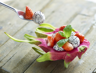 dragonfruit strawberry dessert with vork
