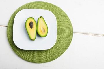 Avocado slices on white plate