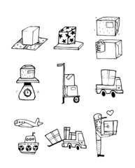 Hand drawn icons related to delivery