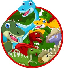 Dinosaur cartoon collection in frame