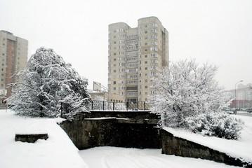 Winter snowfall in capital of Lithuania Vilnius city