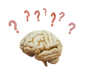 Brain surrounded with question marks