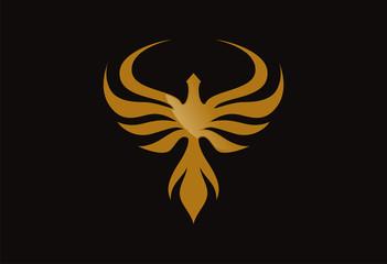 Gold bird logo vector wings silhouette