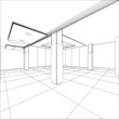Abstract modern office architecture design in 3D wire-frame - 79901704