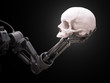 Robot arm with a human skull - 79901753