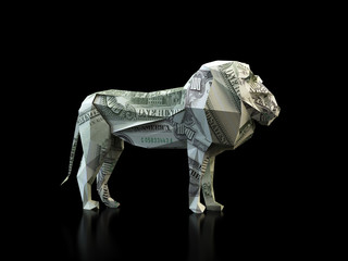 Origami lion made out of a dollar bill