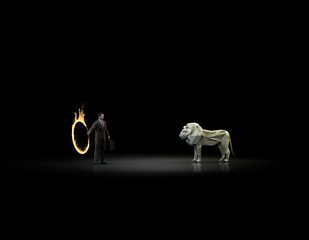Dollar lion and a burning hoop