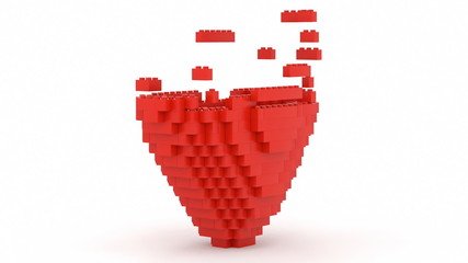 Toy bricks building heart shape and Ilove you message
