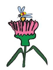 doodle flower and bee