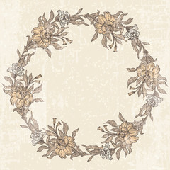 Floral garland in retro style