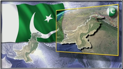 Pakistan flag and map animation FULL-HD