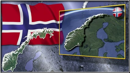 Norway flag and map animation FULL-HD