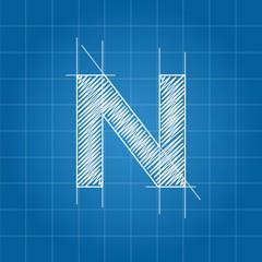 N letter architectural plan