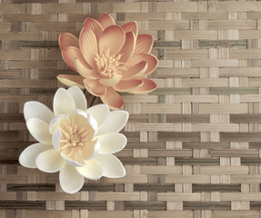 Flowers on bamboo background vintage closeup