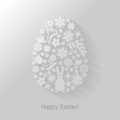 Easter card with decorative floral egg flat background