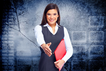 Young business woman with handshake.
