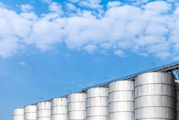 Shining metal tanks for storage of bulk materials