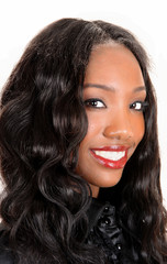 Pretty face of black girl.