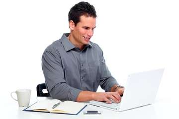 Man working with laptop computer.