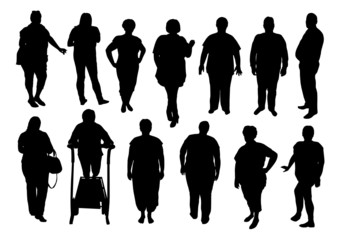 Silhouettes of fat people