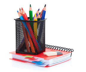 Colorful pencils and notepad