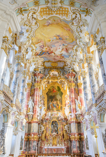 Leinwandbild Motiv wieskirche church in bavaria, Germany, Europe