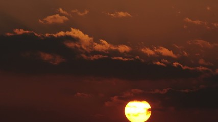 Time lapse of the large orange sunset - HD footage 30P