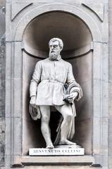 Statue of Benvenuto Cellini in Uffizi Alley in Florence, Italy