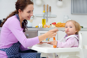 mother feeding baby in the kitchen