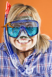 woman with scuba mask,  snorkel and starfish