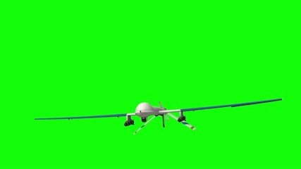 Military Drone. Green screen.