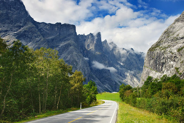 Road and mountains