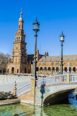 Detalle de un puente de Plaza España, Sevilla. España.